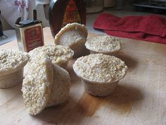 Oatmeal Freezer Pucks--Pop one in the microwave, heat for 2 minutes.  Stir. Enjoy instant, delicious steel cut oats.  Cheap, healthy and easy breakfast!!