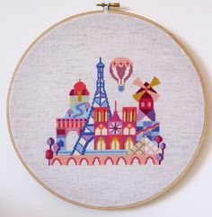 Pretty Little Paris Modern Cross stitch by SatsumaStreet on Etsy by jojablueberry