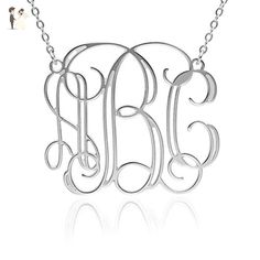 Monogram necklace 1.25 inch Personalized Monogrammed pendant 925 Sterling Silver jewelry - Wedding nacklaces (*Amazon Partner-Link)