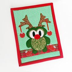 Threadbias: Christmas Owl Reindeer Mug Rug