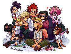 Momo, Eijiro, Bakugou, Katsuki, Mum, Midoriya, Izuku, All Might, Ochako, Mina, Tsuyu, My hero academia, Boku no hero academia