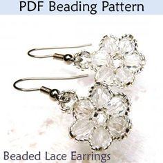 """""""Beaded Lace Earrings"""" PDF Beading Pattern"""