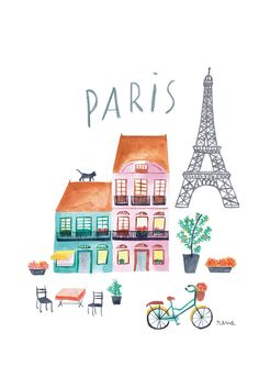 Baby Ilustration Paris acrylic illustration for a textile project for babies clothing Illustration Parisienne, House Illustration, Travel Illustration, Watercolor Illustration, Watercolor Art, French Illustration, Deco France, Doodles, Buch Design