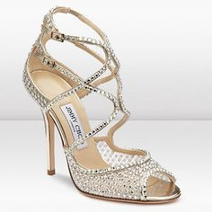 Designer Jimmy Choo Falcon 110mm Ivory Crystal Mesh Sandals 8178304