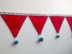 Γιρλάντα με Υφασμάτινα Σημαιάκια.!Έχει 8 κόκκινα σημαιάκια ραμμένα σε λευκή κορδέλα φάσα συνολικού μήκους 2,05 cm Το κάθε σημαιάκι -τριγωνάκι είναι 13 x 15 cm και στο κάτω μέρος τους έχει Pom Pon απο κασμίρ σε υπέροχο πετρόλ χρώμα !! Boy Room, Our Love, Symbols, Letters, Children, Boys, Young Children, Baby Boys, Kids