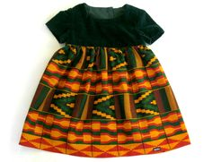 Girl's Autumn Dress  African Kente fabric  2 years 2T by ogekko, $36.00