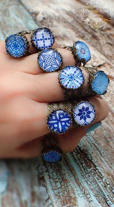 Items similar to Blue Boho Ring , Blue Hippie Bohemian Ring , Mediterranean Boho Ring, Blue Ceramic Bronze Ring by VintageRoseGallery on Etsy Bohemian Rings, Hippie Bohemian, Bohemian Jewelry, Hippie Vibes, Hippie Wedding Ring, Bold Rings, Custom Wedding Rings, Bronze Ring, Hammered Gold