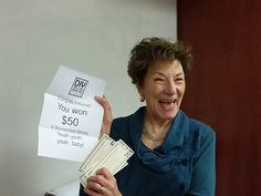 Valerie Lyon gets lucky at our October Mastermind meeting!