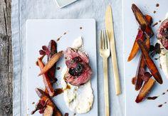 Hovedret: Kalvemørbradpå sellericreme med gulerødder og rødbedechips