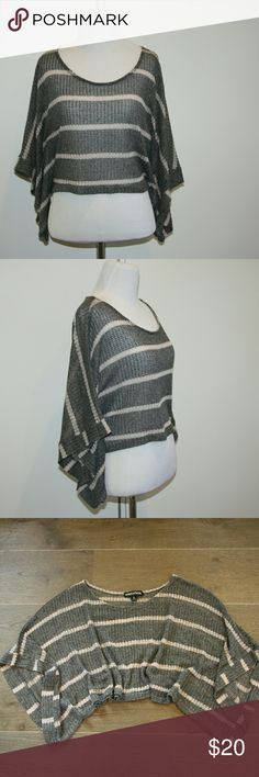 Living Doll Striped Batwing Top Living Doll Striped Top Batwing Sleeved Cropped length Cotton loose weave  Heather grey with cream horizontal strip Lightweight Excellent condition Living Doll Tops