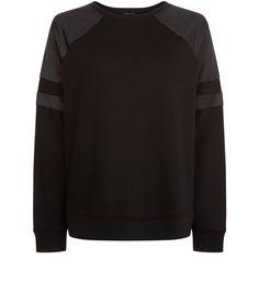 Black Satin Panel Long Sleeve Sweater    New Look