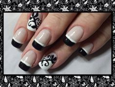Black French with an Art Deco accent nail. Inspired by Robin Moses.