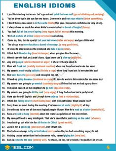 What is an idiom? Learn idiom definition, common idioms list and popular sayings in English with meaning, idiom examples and ESL pictures. These idiomatic expressions can be used to improve your English speaking and writing. Teaching English Grammar, English Writing Skills, English Vocabulary Words, Learn English Words, English Phrases, English Idioms, English Language Learning, English Book, English Study