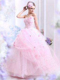 カラードレス お色直し プリンセスライン ビスチェ フロア チュール ピンク ウェディングドレス 花嫁ドレス B30007 価格 ¥81,324