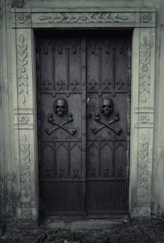 Skull and bones cemetery doors