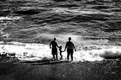 San Lucido  #blackandwhite #B&W #people #sea #beach #playing #children #sand #family #summer