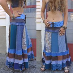 A way to use up some of my fabric scraps, perhaps? Or buy this beautiful thing... Eco long boho Skirt Size M/L upcycled clothing patchwork by zasra, $135.00