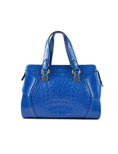 Maxchic Women's Tote Croco-embossed Patent Leather Satchel Shoulder Handbag Blue: Fashion Accessory
