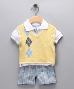 Yellow Argyle Sweater Vest Set - Toddler | Daily deals for moms, babies and kids