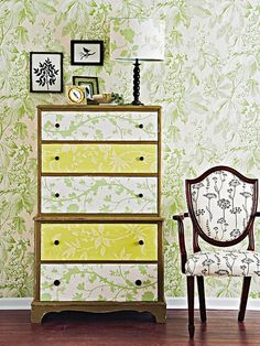 wallpapered dresser