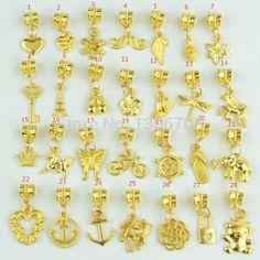 28 mixed encantos de metal banhado a ouro big hole bead pingentes serve pandora pulseiras e colar de jóias feitas à mão 3051