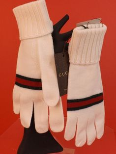 454e4b80db40 NWT GUCCI WHITE WOOL KNIT RIBBED CUFF GREEN RED WEB LOGO GLOVES SIZE L   294732