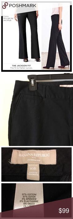 """Banana Republic """"Jackson fit"""" 10R Black Trouser 📦Same day shipping (as long as P.O. is open for business). ❤ Measurements are approximate. Descriptions are accurate to the best of my knowledge.  Banana Republic """"Jackson"""" fit is a Gorgeous mid-rise fit that is curvy through the hip and thigh. 97% cotton, 3% spandex. All pockets are currently sewn closed but threads can easily be removed to make them functional pockets. Smoke/pet free home. Flat measurements: 16.5"""" across waist, 9.5"""" rise…"""