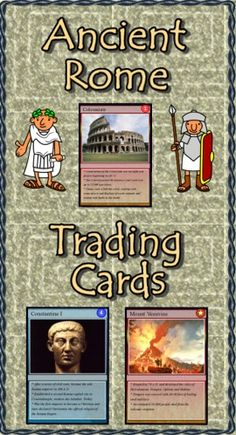 """Are you looking for a way to add interest to your Ancient Rome unit? Do you need more activities for your learning stations? """"Ancient Rome Trading Cards"""" is a set of 54 trading cards highlighting famous persons, places, events and documents of Ancient Rome. Print and laminate the cards to create a standard set of playing cards. """"Educational Trading Card Games"""" details three original learning games. """"Creating Educational Trading Cards"""" shows teachers and students how to make their own cards…"""