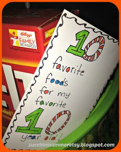 10 year old birthday gift. 10 favorite foods!