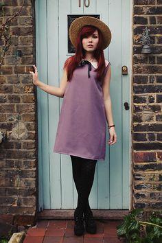 Mod Dolly Paige Purple Smock Dress, Oasap Black Polka Dot Tights, New Look Heels