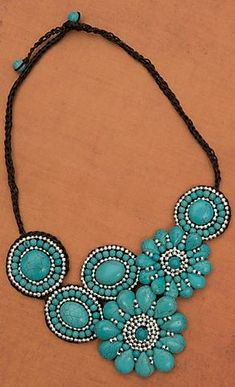 Cute Chunky Turquoise Stone Necklace! Get it from Cavenders.
