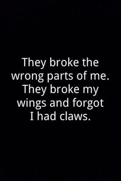 They broke the wrong parts of me.....