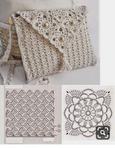 New ideas for crochet lace bag pattern granny squares Crochet Clutch Bags, Crochet Purse Patterns, Crochet Pouch, Crochet Handbags, Crochet Purses, Crochet Bags, Crochet Crafts, Crochet Projects, Easy Crochet