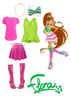 """Winx Club: Flora Season 5 Casual Outfit"" by murphylovesturtles ❤ liked on Polyvore"
