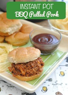 Instant Pot Pulled Pork Recipe - the perfect snack for football viewing or even just weeknight dinners- ready in almost no time with an instant pot from This Mama Loves. Pulled Pork Recipes, Steak Recipes, Slow Cooker Recipes, Ramen Recipes, Roast Recipes, Fudge Recipes, Turkey Recipes, Cookie Recipes, Recipies