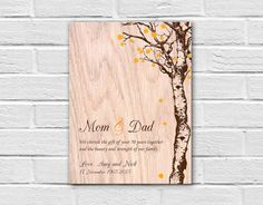 50th Anniversary Gift for Parents, Parents Anniversary Gift Ideas, Anniversary Print on Wood, Parents Wedding Gift Anniversary Wall Art by Flexiwood