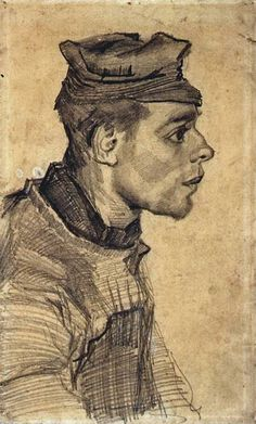 Head of a Young Man - Vincent van Gogh . Created in Nuenen in December - May, 1884 - Located at Van Gogh Museum Rembrandt, Vincent Van Gogh, Van Gogh Drawings, Van Gogh Paintings, Figure Drawings, Artist Van Gogh, Van Gogh Art, Van Gogh Museum, Art Van