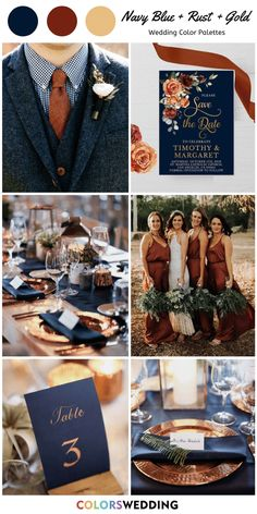 Navy Blue + Rust + Gold Wedding: navy suits and rust tie, rust bridesmaid dresses, greenery bouquets, navy and gold tablescape and printed wedding invitation. bridesmaids invites Top 7 Navy Blue and Gold Wedding Color Combos Navy Blue And Gold Wedding, Blue Suit Wedding, Gold Wedding Colors, Wedding Color Schemes, Wedding Themes, Wedding Decorations, Wedding Navy, Navy Blue Weddings, November Wedding Colors