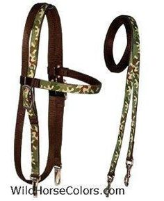 Green Camo Western Headstall Matching Single Rein New Horse Tack Great Gift | eBay