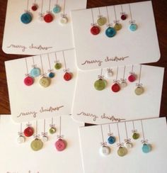 try with real buttons on woodOld buttons into ornament cards ♥Button christmas cards - so doableSouthern Fabric: 'tis the season for card giving.Handmade Christmas cards you can replicate Button Christmas Cards, Noel Christmas, Button Cards, Christmas Projects, Christmas Card Ideas With Kids, Christmas Buttons, Christmas Place Cards, Teacher Christmas Card, Christmas Balls