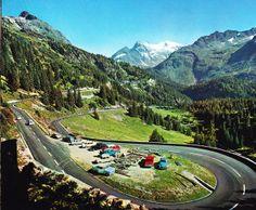 from a postcard: Steinalp, Sustenstrasse. Switzerland - Susten Pass - Susten Pass Road (Sustenstrasse) from Gadmen on Open Travel