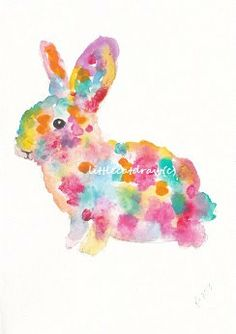 Rainbow Bunny Rabbit  Watercolor Painting Art by littlecatdraw, $13.50