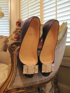 These were my wedding shoes! Black satin Loubs with vintage rhinestone shoe clips attached!