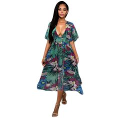 51a496792c New Europe and the United States women s wear short sleeved summer sexy v  neck dress printed chiffon dress nightclub-in Dresses from Women s Clothing  ...