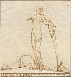 Art by Franz von Bayros (1866-1924), ca. 1922, Ex libris for Paul Lindenberg. #Bookplate #ExLibris #erotic #pig