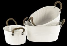 3 Piece Zinc Oval Bucket Set