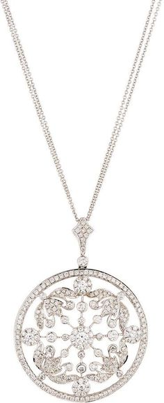 Diana M. Jewels 18k Round White Diamond Pendant Necklace DlM7Ze6