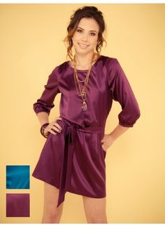 Love this color ! Eggplant  Shirt Dress with sash  Very versatile, dress it up or down.   Could even be worn as a tunic.
