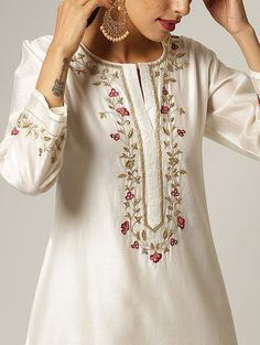 Buy Embroidered Silk Kurta Set by Sue Mue at Aza Fashions Embroidery On Kurtis, Kurti Embroidery Design, Flower Embroidery Designs, Embroidery Fashion, Embroidery Dress, Silk Kurti Designs, Kurta Designs Women, Kurti Designs Party Wear, Neck Designs For Suits
