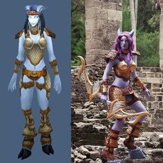 Cosplay VS Character!  This was my Draenei from World of Warcraft (photo by @robbyidol)! I airbrush my makeup onto myself (with help on my middle back where I can't reach). The armor is all craft foam (still my favorite armor material!) the boobs were covered in Crayola Model Magic. My hooves are shoes altered with an added wood base my bow is foam and the silver parts on it are carved wood! I hand dyed my wig since I couldn't find the right dusty purple color. My white-out contact lenses…